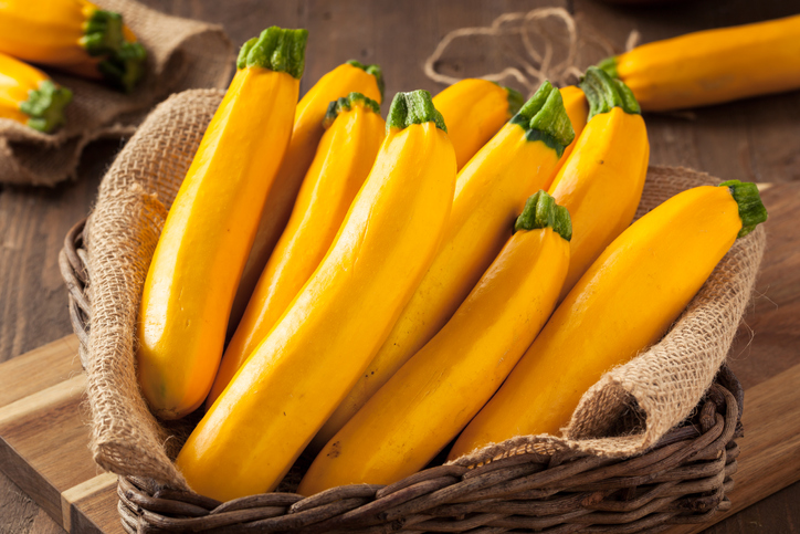 A small basket full of yellowsquash